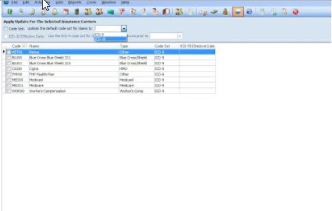 To set the ICD version for all carriers in Medisoft
